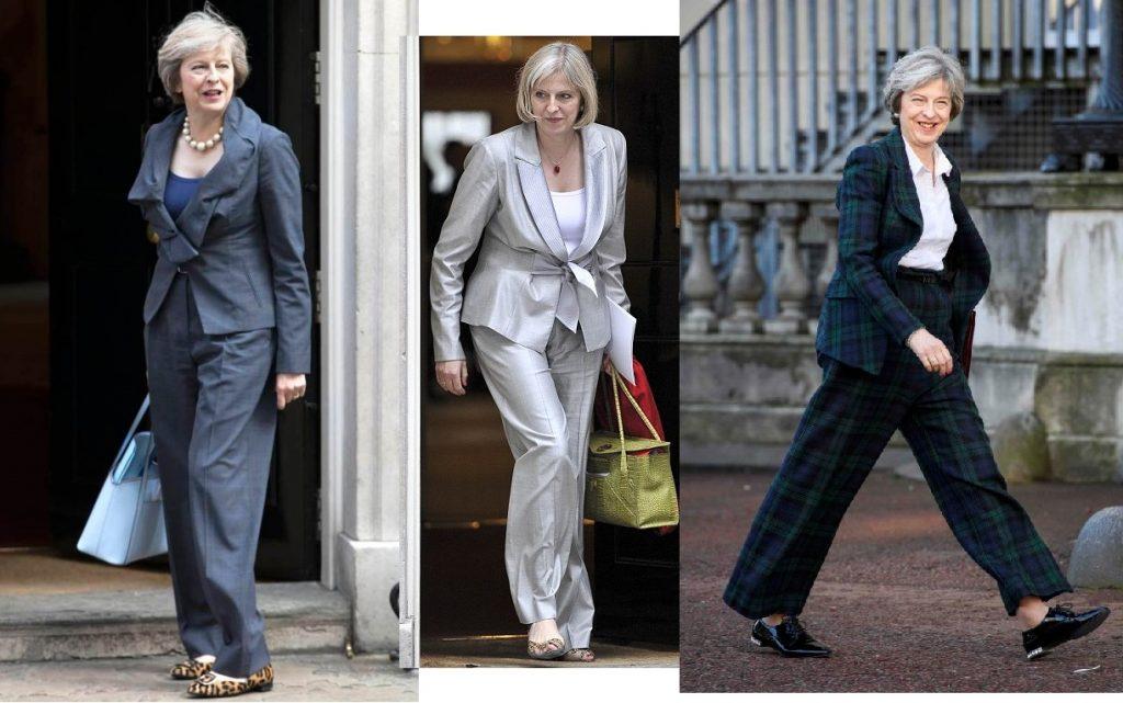 Theresa May pantolonlu takım elbise