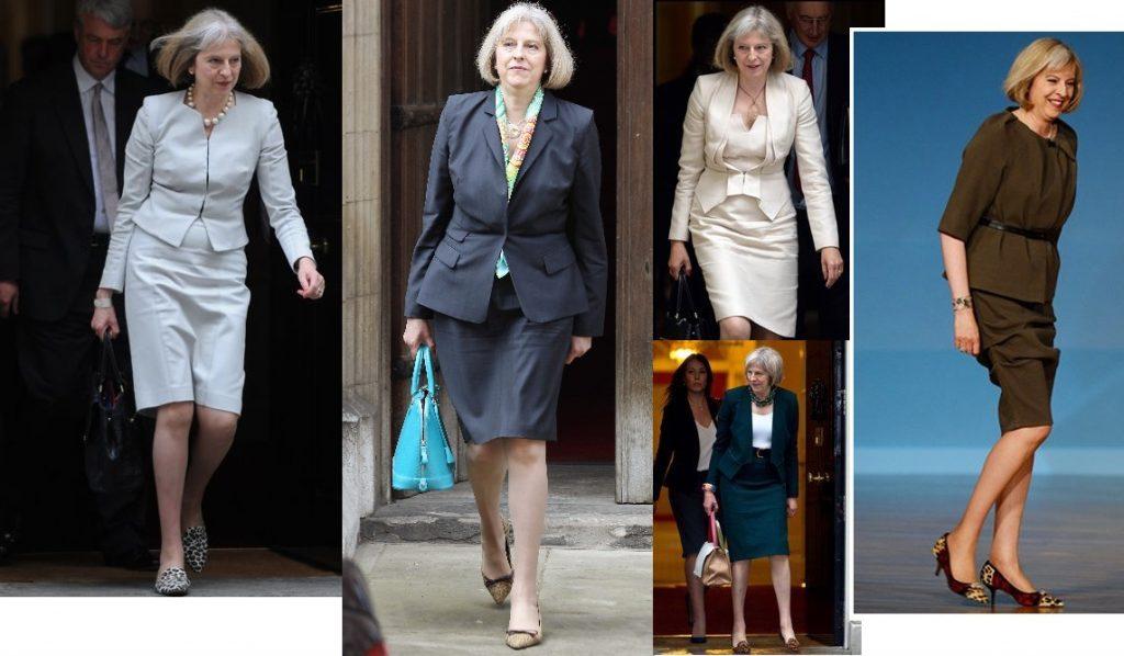 Theresa May etekli takım elbise