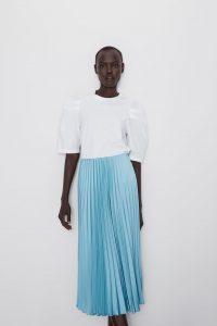 blue pleated skirt zara