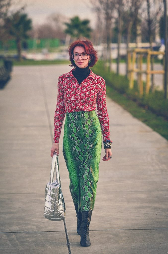 70's shirt and Zara snake skirt