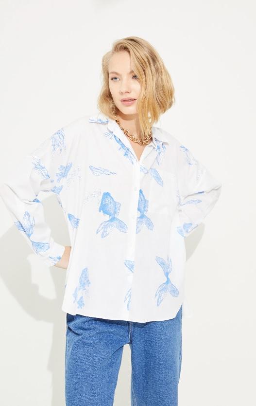 adL balık desenli gömlek